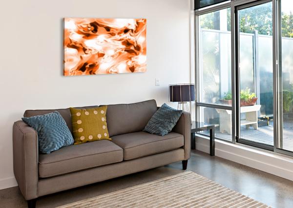 ORANGE CREAM - ORANGE BLACK WHITE SWIRLS ABSTRACT WALL ART JAYCRAVE DESIGNS  Canvas Print