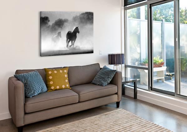 HORSE HERD DUST NATURE WILD SHAMUDY  Canvas Print