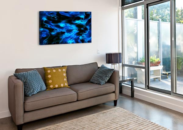 TRUE LIGHTNING - BLUE WHITE BLACK SWIRLS ABSTRACT WALL ART JAYCRAVE DESIGNS  Canvas Print