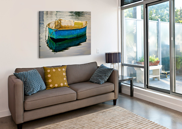 ANCHORED BOAT AT DAWN DAVE THERRIEN  Canvas Print