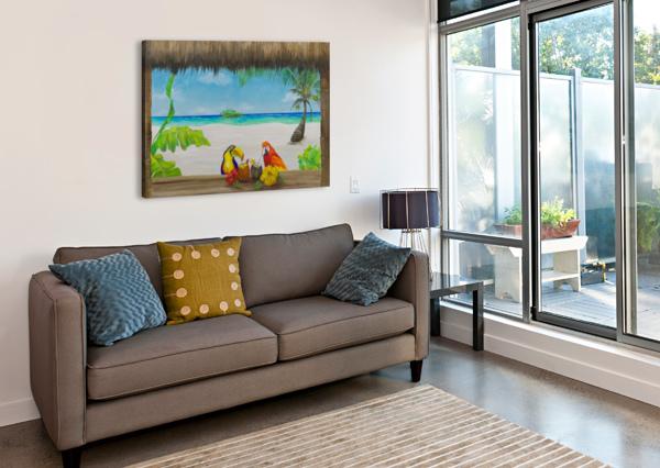 BEACH TIKI  ART TURQUOISE  Canvas Print