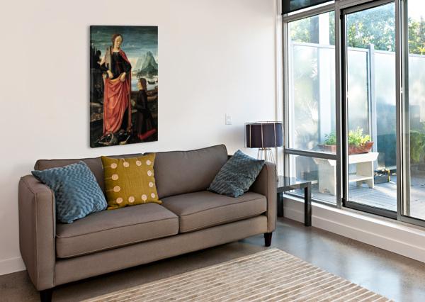 ST BARBARA CRUSHING HER FATHER DOMENICO GHIRLANDAIO  Canvas Print