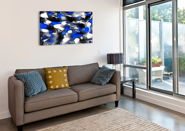 BOOSTER - BLUE WHITE BLACK SILVER SPOTS SWIRLS ABSTRACT WALL ART JAYCRAVE DESIGNS  Canvas Print