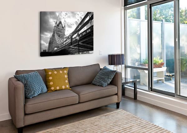 THE MIGHT OF TOWER BRIDGE BLACK AND WHITE BUNNOFFEE PHOTOGRAPHY  Canvas Print
