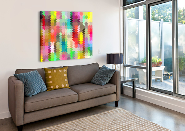 GEOMETRIC SQUARE PIXEL PATTERN ABSTRACT IN RED BLUE GREEN YELLOW TIMMYLA  Canvas Print