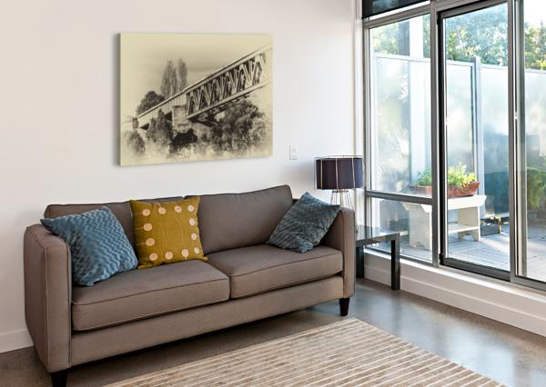 RAILWAY BRIDGE IN B&W ANN SKROBOT  Canvas Print