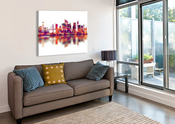 LISBON PORTUGAL SKYLINE TOWSEEF DAR  Canvas Print