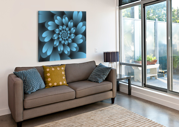 BLUE FLORAL SATIN WALLPAPER RIZU_DESIGNS  Canvas Print