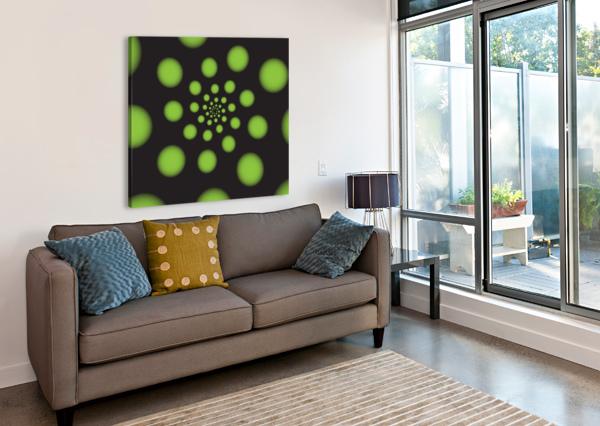 GREEN SPIRAL DOTS RIZU_DESIGNS  Canvas Print