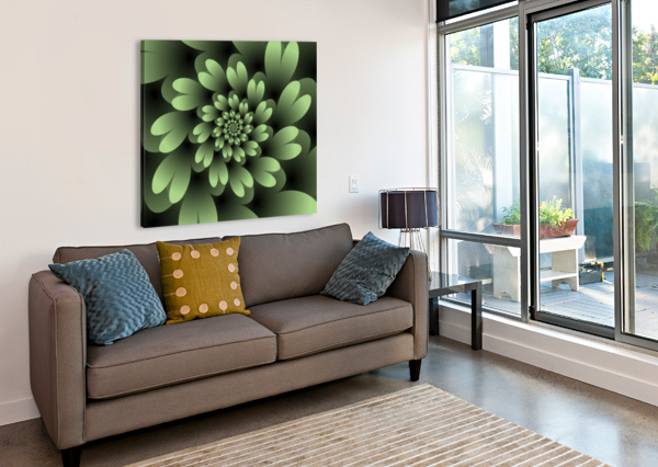 GREEN FLORAL SATIN WALLPAPER RIZU_DESIGNS  Canvas Print