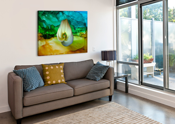 ALCOHOL INK AND LILY II DONNA STARES   Canvas Print