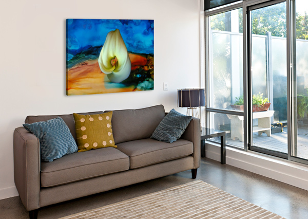 ALCOHOL INK AND LILY III DONNA STARES   Canvas Print