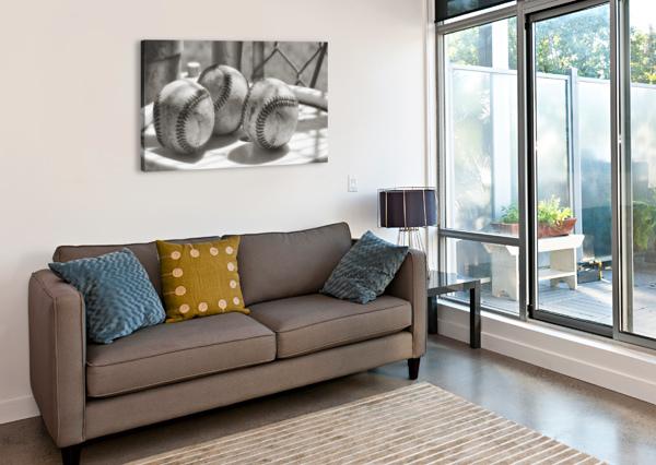 3 BASEBALLS ON A BUCKET IN SEPIA LEAH MCPHAIL  Canvas Print