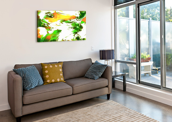 LEGENDARY - GREEN GOLD AND WHITE ABSTRACT SWIRLS WALL ART JAYCRAVE DESIGNS  Canvas Print