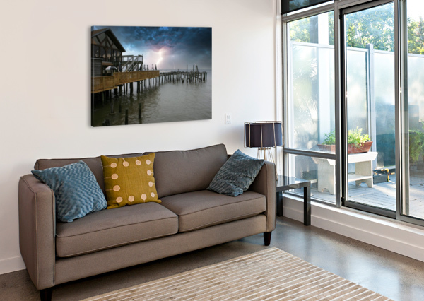 LIGHTNING OVER PIER CONNIE MAHER  Canvas Print