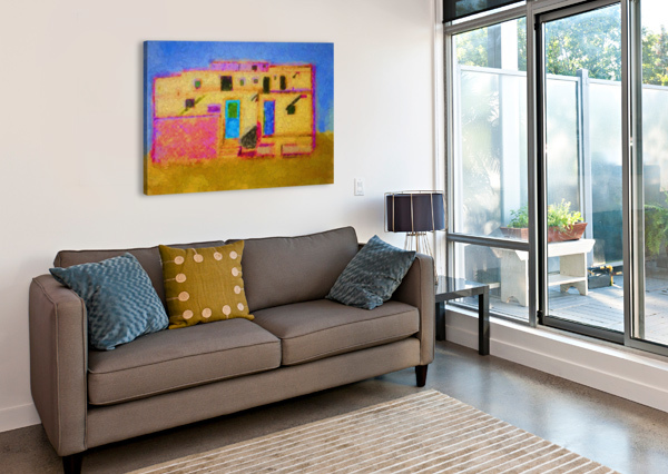 ADOBE HOUSE NEW MEXICO AURELIA SCHANZENBACHER SISTERS FINE ARTS  Canvas Print