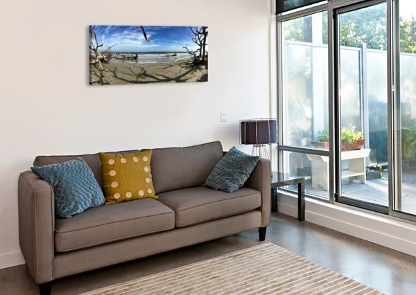 DRIFTWOOD BEACH PANORAMA SHADOWS BILL SWARTWOUT PHOTOGRAPHY  Canvas Print