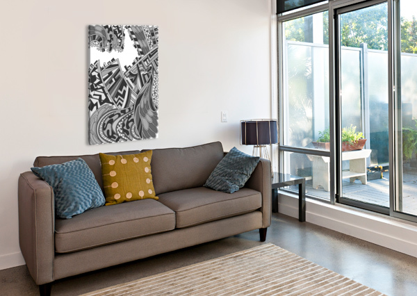WANDERING ABSTRACT LINE ART 01: GRAYSCALE DREAM RIPPLE  Canvas Print