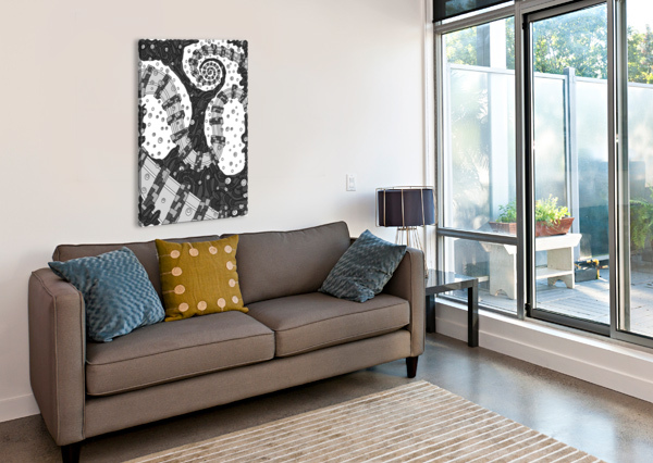 WANDERING ABSTRACT LINE ART 02: GRAYSCALE DREAM RIPPLE  Canvas Print
