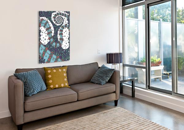 WANDERING ABSTRACT LINE ART 02: BLUE DREAM RIPPLE  Canvas Print