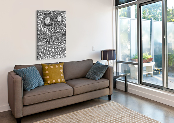 WANDERING ABSTRACT LINE ART 03: GRAYSCALE DREAM RIPPLE  Canvas Print