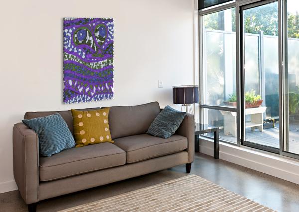 WANDERING ABSTRACT LINE ART 03: PURPLE DREAM RIPPLE  Canvas Print