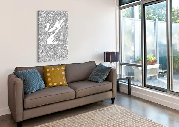 WANDERING ABSTRACT LINE ART 05: BLACK & WHITE DREAM RIPPLE  Canvas Print