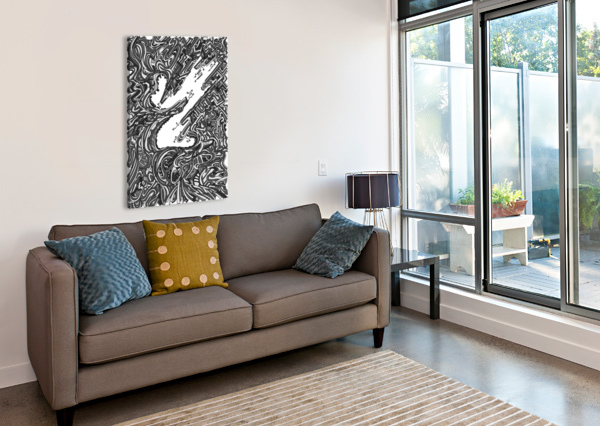 WANDERING ABSTRACT LINE ART 05: GRAYSCALE DREAM RIPPLE  Canvas Print