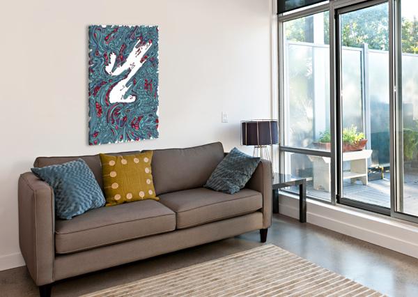 WANDERING ABSTRACT LINE ART 05: BLUE DREAM RIPPLE  Canvas Print