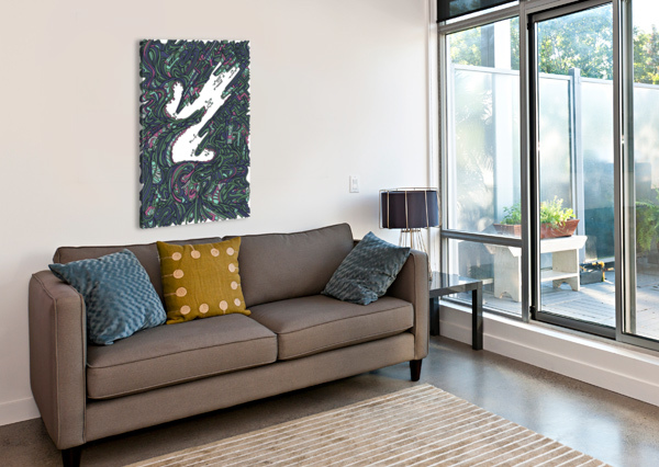 WANDERING ABSTRACT LINE ART 05: GREEN DREAM RIPPLE  Canvas Print