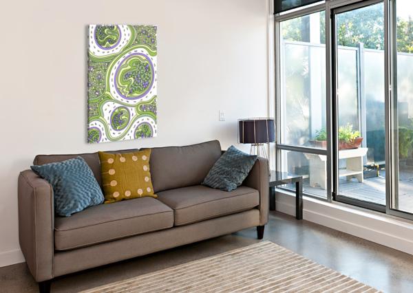 WANDERING ABSTRACT LINE ART 06: GREEN DREAM RIPPLE  Canvas Print