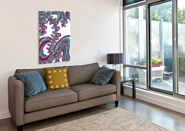WANDERING ABSTRACT LINE ART 07: GREEN DREAM RIPPLE  Canvas Print