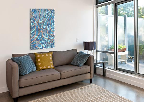 WANDERING ABSTRACT LINE ART 09: BLUE DREAM RIPPLE  Canvas Print