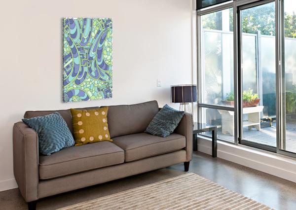 WANDERING ABSTRACT LINE ART 09: GREEN DREAM RIPPLE  Canvas Print