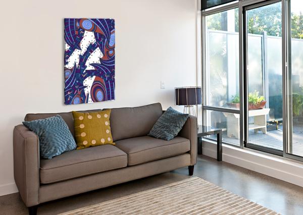 WANDERING ABSTRACT LINE ART 10: ORANGE DREAM RIPPLE  Canvas Print