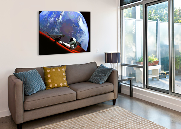 STARMAN IN TESLA ABOVE PLANET EARTH BILL SWARTWOUT PHOTOGRAPHY  Canvas Print