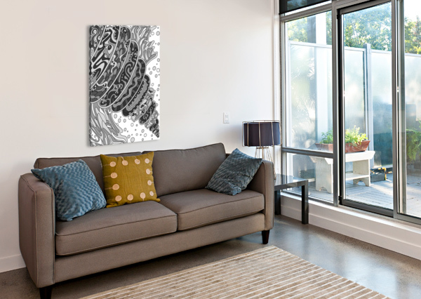 WANDERING ABSTRACT LINE ART 11: GRAYSCALE DREAM RIPPLE  Canvas Print