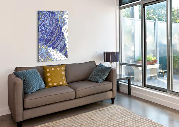 WANDERING ABSTRACT LINE ART 11: BLUE DREAM RIPPLE  Canvas Print