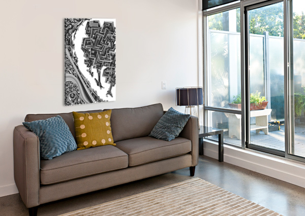 WANDERING ABSTRACT LINE ART 12: GRAYSCALE DREAM RIPPLE  Canvas Print
