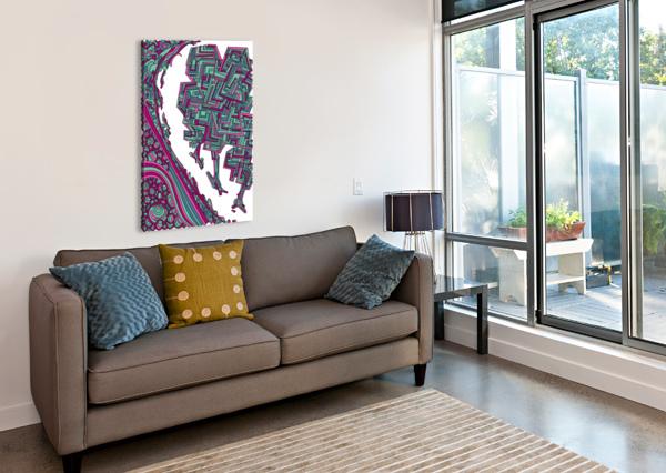 WANDERING ABSTRACT LINE ART 12: MAGENTA DREAM RIPPLE  Canvas Print