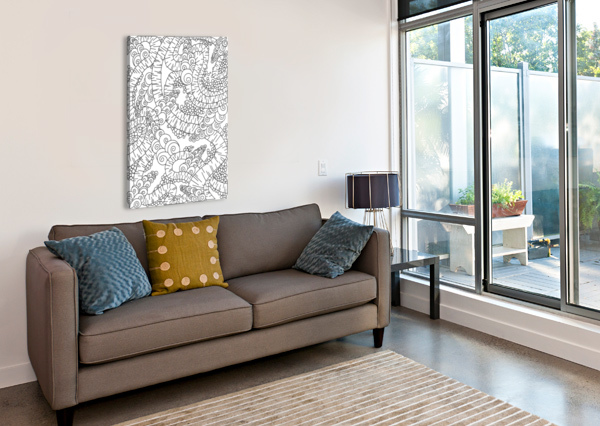 WANDERING ABSTRACT LINE ART 13: BLACK & WHITE DREAM RIPPLE  Canvas Print