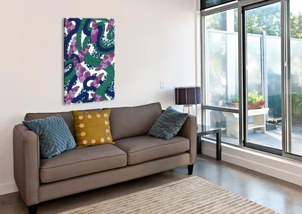 WANDERING ABSTRACT LINE ART 13: GREEN DREAM RIPPLE  Canvas Print