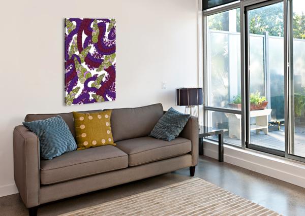 WANDERING ABSTRACT LINE ART 13: BURGUNDY DREAM RIPPLE  Canvas Print