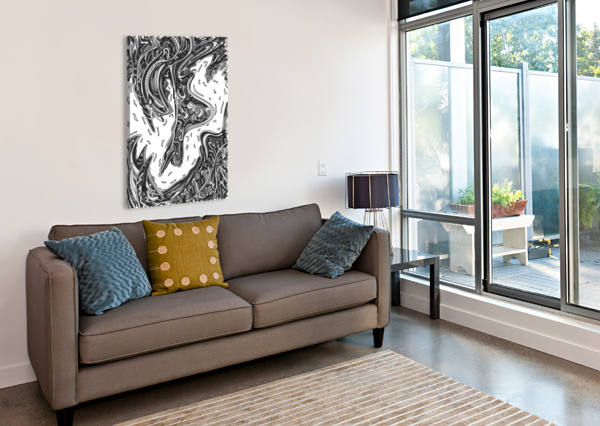 WANDERING ABSTRACT LINE ART 14: GRAYSCALE DREAM RIPPLE  Canvas Print