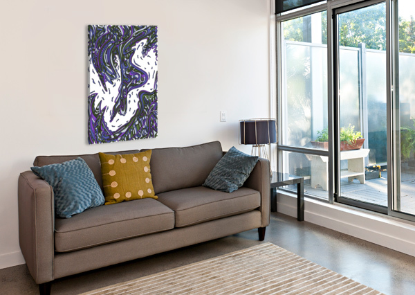 WANDERING ABSTRACT LINE ART 14: PURPLE DREAM RIPPLE  Canvas Print