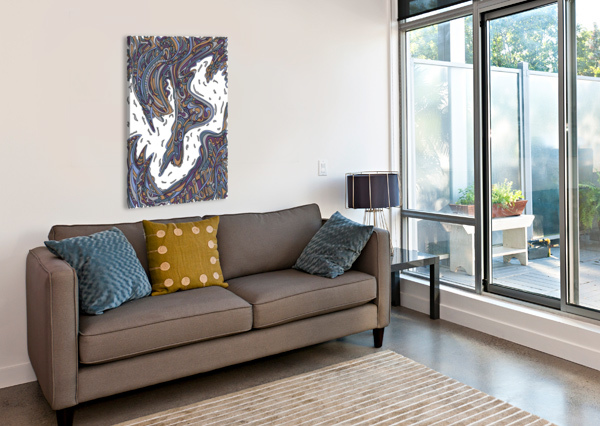 WANDERING ABSTRACT LINE ART 14: YELLOW DREAM RIPPLE  Canvas Print