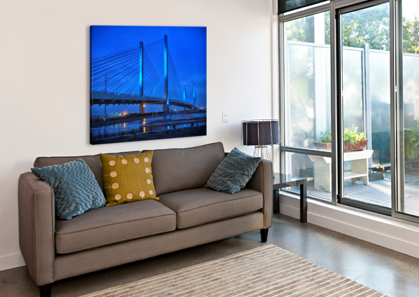 BLUE BRIDGE IN THE RAIN AT INDIAN RIVER INLET BILL SWARTWOUT PHOTOGRAPHY  Canvas Print