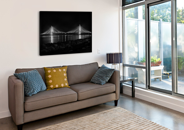 INDIAN RIVER BRIDGE AFTER DARK IN BLACK AND WHITE BILL SWARTWOUT PHOTOGRAPHY  Canvas Print