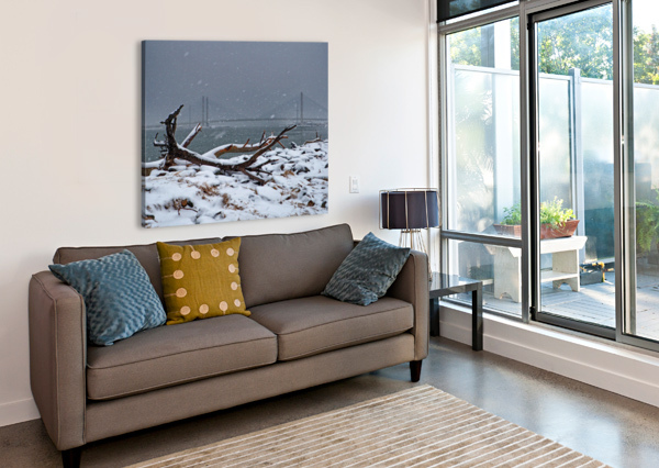 INDIAN RIVER BRIDGE WITH DRIFTWOOD AND SNOW BILL SWARTWOUT PHOTOGRAPHY  Canvas Print