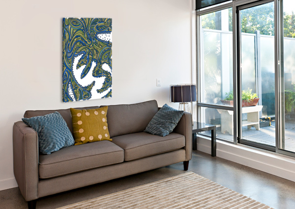 WANDERING ABSTRACT LINE ART 17: GREEN DREAM RIPPLE  Canvas Print